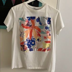 Graphic Floral Silk Tee